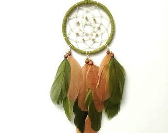 Dream Catcher - Modern - Green, Gold, Brown - Hippie Wall Art