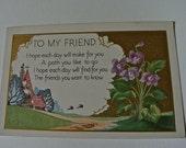 Embossed Friendship Poem Postcard Unused 1919