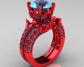 Exclusive French 14K Red Gold 3.0 Ct Blue Topaz Solitaire Wedding Ring Wedding Band Set R401S-14KREGBT