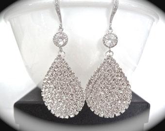 Crystal rhinestone earrings - Luminous - Large - Teardrops - Statement earrings - Sterling ear wires - Bridal jewelry - Prom - Bridesmaids -