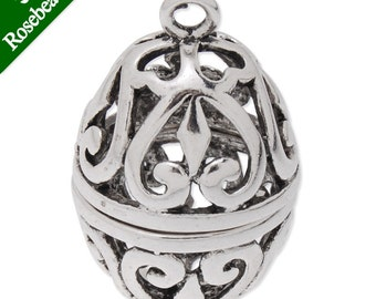 5PCS 21.5x35mm Antique Silver Oval Brass Cage Pendant,pearl cage,cage pendant C4301