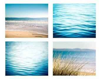 nautical decor beach photography ocean print set 5x7 8x10 11x14 fine art photography abstract water ripples coastal prints teal blue azure