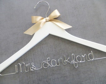 WHITE Wedding Hanger, Personalized Hanger, Bridal Hanger, Custom Wedding Hanger, Wire Name Hanger, Shower Gift, Winter Wedding, Bride Gift