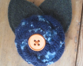 Recycled Wool Sweater Flower Brooch Pin Navy Blue