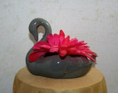 Gray Swan Cake or Table topper with area for silk or fresh flowers, treats, or jewelry holder. Bridesmade or wedding gift.