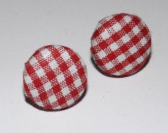 """Vintage Fabric Earrings - Red and White Gingham Check - 3/4"""""""