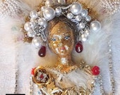 Vintage Doll mask White feathers carnival NECKLACE flower crystal ornately decorated costume shopping jewelry Etsy