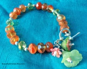 Faceted Glass Bead Bracelet, Peach and Spring Green, Lucite Flowers