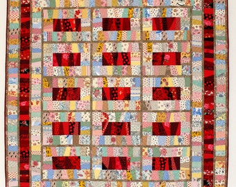 """Retro TwinBed Wall Quilt, Reds & Pastel Novelty Prints, 60"""" x 66.5"""""""