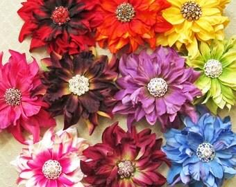 Crystal Dahlia Hair Flower Clip & Pin - 10 Color Choices!
