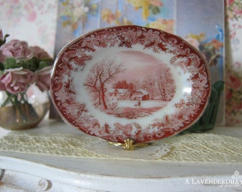 Red Winter's Eve Dollhouse Oval Platter