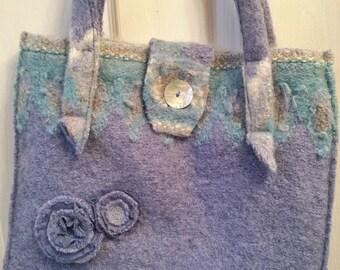Blue felted wool shoulder bag