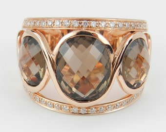 6.40ct Diamond and Oval Smokey Topaz Ring Three Stone Band 14K Rose Pink Gold Size 6
