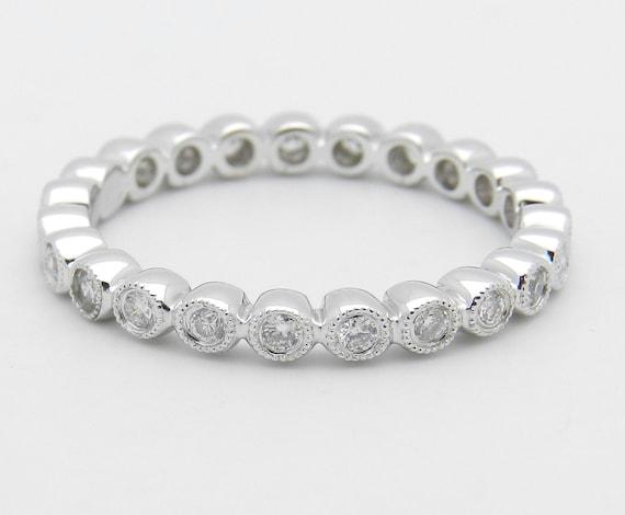 Diamond Eternity Wedding Ring Anniversary Band 18K White Gold Size 6.5 G SI1