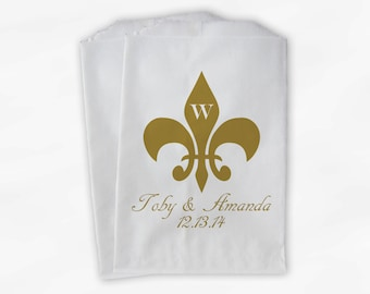 Fleur de Lis Monogrammed Wedding Candy Buffet Bags - Gold Custom Favor Bags Personalized - Paper Treat Bags (0061)