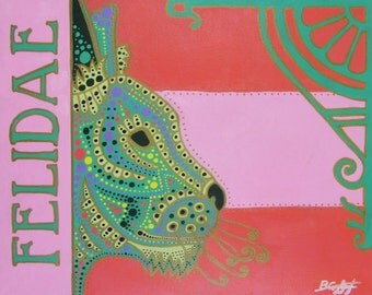 "Original Acrylic Painting of MINT CAT - 16""x20"" Large Bold Bright Acrylic with Gold Detailing on Stretched Canvas"