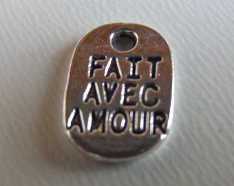 11mm*8mm, Fait Avec Amour, Made with Love tags, Silver toned, Charms 15CT, (Y26)