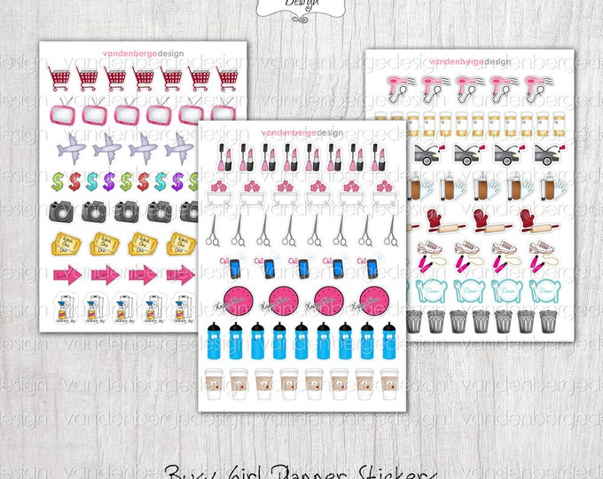Planner Calendar Stickers- Busy Girl! Assorted Functional Stickers -Perfect for the Erin Condren Planner!