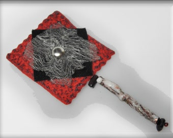 unique fiber brooch, pin, wearable art, black red white, designer, artistic