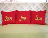 Christmas Pillow Set  Peace, Joy, Love in Red with Green Embroidery  3PC Set