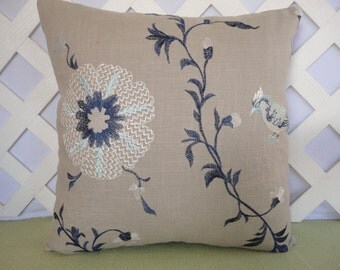 Embroidered Floral Pillow Cover with Bird in Beige, Navy, Baby Blue, White / Floral Pillow / Bird Pillow / Decorative Pillow