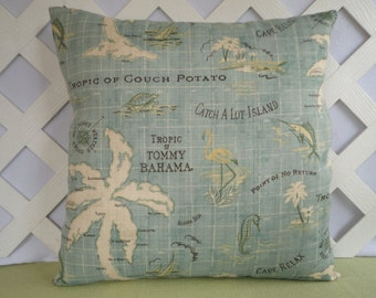 Island Song Outdoor Pillow Cover Beach Theme Pillow Cover Pale Aqua, Ivory, Cream, Green, Brown