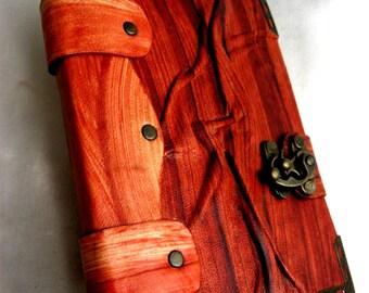 Handmade vintage look blank wrinkled leather journal notebook
