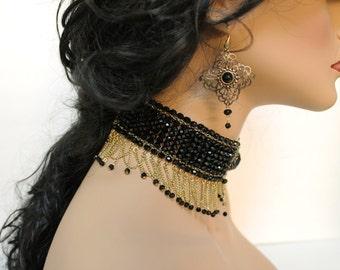 Beaded Victorian Gothic Choker, Elegant Evening Necklace, Choker Collar, Black Wedding Jewelry