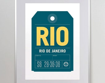 Rio de Janeiro, Brazil, RIO. Luggage Tag Poster. Baggage Tag Print. Travel Poster. Airport Code. A3. 11x14.
