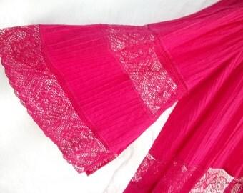 Pink ~ Dress ~ Roberta Vercellino y Luis Original ~ Long ~ Vibrant  ~ Crochet ~ Bohemian ~ Gypsy ~ Festival Set