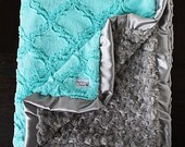 Minky Blanket, baby girl, blanket for girl, aqua and grey, grey and aqua blue, mint and grey, Lattice Ruffle Blanket, aqua and silver