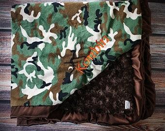 Minky Blanket, satin and minky, soft blanket, large minky blanket, camo blanket, boy blanket, hunter blanket, personalized blanket