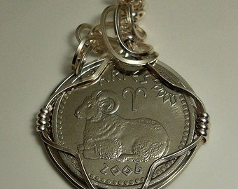 Aries Zodiac Birthday Coin Pendant