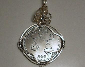 Libra Zodiac  Astrology Sign Coin Pendant 2006