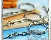 10/20/50 PCS X 28mm Blank Silver Round Key Chain Ring w Link Chain jump rings Split Ring Thick Double Ring Keychain w Screw Eye Hook SS.CN