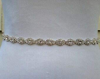 Thin Narrow Diamond Wedding Sash Belt -  Rhinestone Sash - Fatima - Style SA611