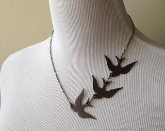 These Three Birds Necklace II - Divergent Inspired Necklace - Tris Prior Inspired Necklace - Tris Tattoo Necklace - Three Ravens Necklace