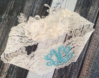 MONOGRAMMED LACE GARTER / bridal garter/ lace garter / toss garter / Something Blue wedding garter / vintage / Shabby Chic