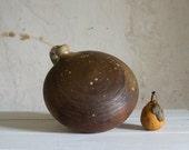 Antique Earthenware Bottle // French Stoneware Hot Water Bottle // Primitive Farmhouse
