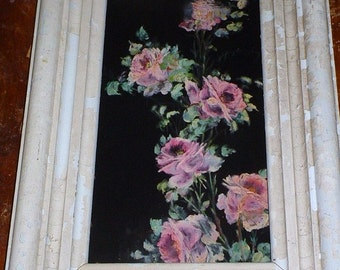 Vintage Oil Painting Pink Roses On Silk Romantic Shabby Cottage Decor 1940s