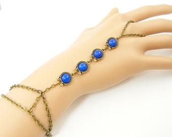 Boho Slave Bracelet Blue Brass Hand Chain, Bracelet Ring, Hipster Bracelet Bohemian Ring Bracelet Body Jewelry  BC1-11