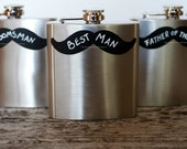 Groomsman Flask, Best Man Gift, Groomsmen Gift with Mustache Chalkboard Label, Groomsman Gift, Stocking Stuffer, Fathers Day Gift,