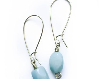 Sea Blue Amazonite Earrings with Brass Kidney Ear Wires