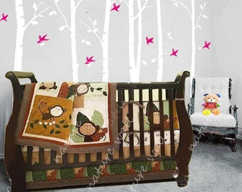 white Tree Decals Kids wall decals baby decal nursery decal wall decor wall art birch decals nature-birds in Birch forest