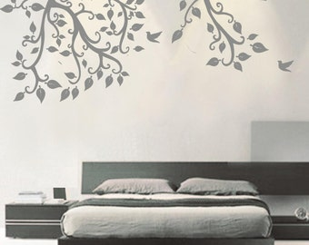 Vinyl Tree branch wall decals wall stickers wall decor wall art -tree branch with birds