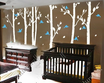 white birch Tree Decals nursery decals Kids wall stickers baby room decor wall decor wall art -birds in Birch forest 100in