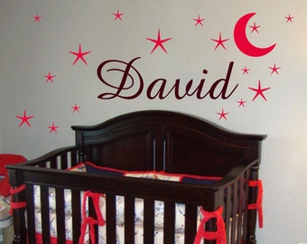 Boy name decals with stars and moon - Name Wall Decals with dots- Boys Room Decor - kids Wall Art - Baby Wall Decals-children wall decal