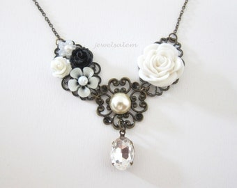 White Wedding Bridesmaid Necklace Bridal Jewelry Floral Row Necklace Gift for Sister Romantic Dreamy Elegant Modern Victorian SB JW