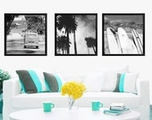 Black and White Beach Photos, Surfer Art, Retro Surf Beach Photography Set, California Art, VW Bus, Palm Trees, Surfboards