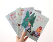 Set of 4 Retro Illustrated Christmas Cards